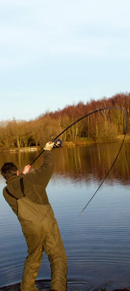 Frank Warwich casting with a Century carp fishing rod